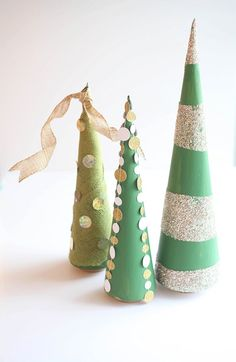DIY Cone trees three easy ways. Perfect for Christmas!