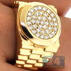 Mens 1.10 Carat Diamond Stepped Shank Pinky Ring in Polished 14K Yellow Gold