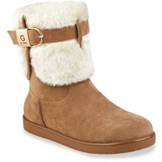 G By Guess  Cold Weather Faux Fur Bootie (£45) ❤ liked on Polyvore featuring shoes, boots, ankle booties, brown, faux fur bootie, brown booties, ankle boots, ankle bootie boots and short boots