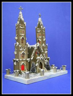 Latest Putz Cathedral by Howard Lamey - 27 stained glass windows, illuminated