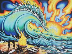 Drew Brophy store for Surf and Ocean Art, Sacred Geometry Fine Art Hawaiian Art, Surf Art Painting, Art Painting, Art Galleries Design, Psychedelic Art, Hippie Art, Painting, Surf Art, Ocean Art
