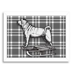 East Urban Home 'Pug on Sled with BW' by Kristin Van Handel Framed Graphic Art