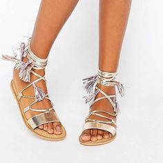 Buy ASOS FICUS Leather Tie Leg Sandals at ASOS. With free delivery and return options (Ts&Cs apply), online shopping has never been so easy. Get the latest trends with ASOS now. Caged Sandals, Strappy Shoes, Metallic Sandals, Tie Shoes, Gold Sandals, Flat Sandals, Gladiator Sandals, Leather Sandals, Flats