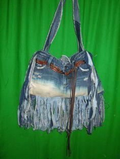 OOAK denim fringe hippy boho handbag purse made of American Eagle AE jeans skirt