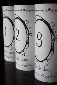 Table Number Luminaria - Oval Flourish Design