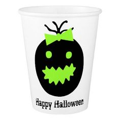Cute Halloween pumpkin with bow Paper Cup - halloween decor diy cyo personalize unique party
