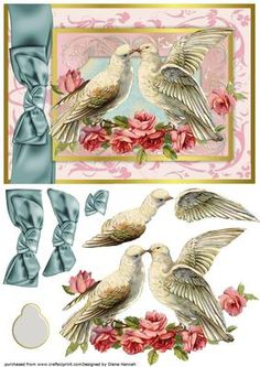 Love Dove Frame on Craftsuprint designed by Diane Hannah - Lovely doves on a frame with decoupage elements and a text tag. This card sheet is suitable for many occasions. Works beautifully for wedding, anniversary, birthday, sympathy, mother's day, and many other occasions. - Now available for download!