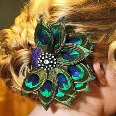 Peacock Wedding Bridal Feather Hair Comb by HeadFullofFeathers, $119.00