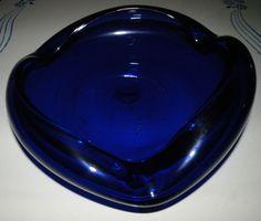 Art Glass COBALT BLUE Freeform Large Heavy Dish Candy Mints Cigar Ashtray BLENKO #Blenko