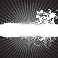 Greeting Floral Banner with Sunburst Background Vector