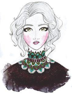 the textured collar girl: resultado final! dá pra ver todo o processo aqui: http://dropsdeilustracao.blogspot.com.br enjoy ;~)