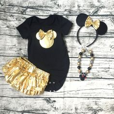 2016 New Summer Baby Girl Short Sleeve Golden Ruffle Bloomers with Necklace and…