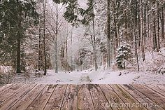 Winter Background With Wooden Terrace And Nature Forest Landscape Christmas Holiday Concept