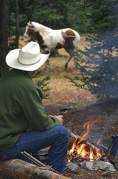 This is the life, plus or minus the horse. Sitting around the fire is a recipe for peace.