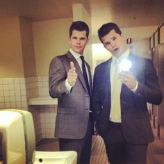 Twins Max and Charlie Carver on the set of Teen Wolf.