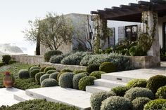 Front yard and entrance of a modern Mediterranean home in Laguna Niguel, CA designed by Forest Studio