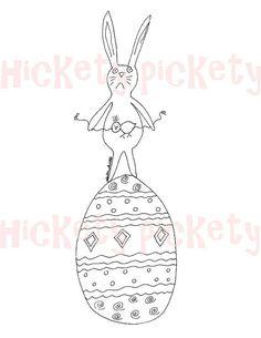 primitive embroidery patterns   Primitive Stitchery Pattern Embroidery Bunny Easter Egg by ...