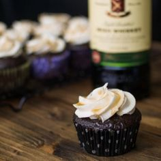 Chocolate Stout Cupcakes with Salted Whiskey Caramel and Whipped Whiskey Buttercream.
