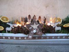 Adventskranz - ♥XL Adventskranz, Adventsboard mit Windlichtern ♥ - ein Designerstück von Sternenglanz-Clemens bei DaWanda