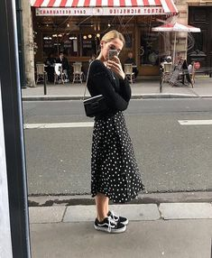 9695f10e4195e9 Black and white polka dot skirt outfit with black sweater and vans sneakers  fall winter skirt outfit street style