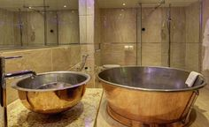 Stunning Spa room at the Mount Pleasant Hotel - Doncaster featuring the William Holland Handcrafted Rotundus Copper bath and Gyrus Copper basin. Luxury! #williamholland #coppertub #copperbath #copperbathtub #spabath #rolltopbath #decor #interiordesign #spadesign www.williamholland.com