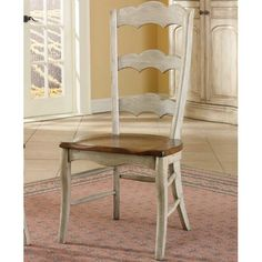 Distressed wood white dining room chairs