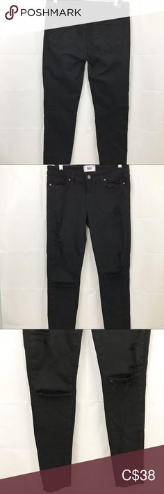 """Paige Verdugo Ultra Skinny Destroy Distress Jeans Paige Women's Pants Size 29 Black Verdugo Ultra Skinny Destroyed Distressed  -preowned -no stains, tears or holes -slightly faded -size 29 -black -distressed, destroyed -verdugo ultra skinny style -98% cotton, 2% elastane -stretch  COLOR MAY BE SLIGHTLY OFF DUE TO CAMERA FLASH AND LIGHTING  Measurements: Waist:  29"""" Hips:  31"""" Inseam:  29.5"""" Outseam:  39"""" Front rise:  8"""" Back rise:  10.5"""" Leg opening:  10"""" PAIGE Pants & Jumpsuits Skinny Distress Jeans, Women's Pants, Plus Fashion, Fashion Tips, Fashion Trends, Pant Jumpsuit, Pants For Women, Black Jeans, Skinny"""