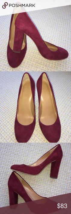 J crew burgundy heels 👠 size 7 J crew, barely worn (maybe 3x) luxe burgundy suede high heels. Thick heel is very on trend. Great condition, see bottom of soles pic, no scuffing on heel cap! J. Crew Shoes Heels