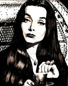 Marker and pencil rendering of Carolyn Jones, the original Morticia Addams. Morticia Addams, Halloween Queen, Halloween Town, The New Yorker, Ted Cassidy, Barbarian Queen, Picture Frame Art, Hot Goth Girls, Female Vampire