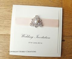 Vintage Pearl Wedding Invitation with satin ribbon. Handmade Pocket.