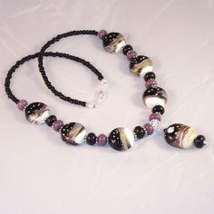 Lampwork Glass Necklace Desert Moonscape by LiteratePackrat, $57.00