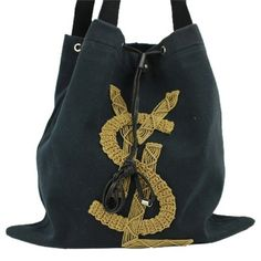 Canvas Embroidered  Bag BG-#3843238 Saint Laurent Canvas Embroidered YSL Embellished Tote. Amazing bag with little to no signs of wear. Mild scuffs on leather details. Light fading on top edge of bag.. Saint Laurent Bags Totes