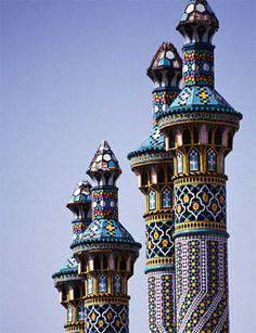 Minaretes en Qom, Irán. Qom es una de las ciudades más sagradas en Irán y en el Islam chiíta.