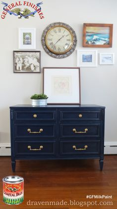 A sad and outdated estate auction low dresser gets a makeover using General Finishes Coastal Blue. Cheap Furniture Makeover, Diy Furniture Renovation, Refurbished Furniture, Upcycled Furniture, Modern Furniture, Furniture Refinishing, Coastal Furniture, Furniture Projects, Bedroom Furniture