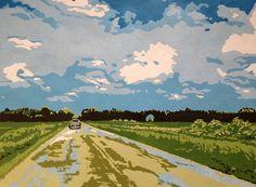 Coming Home original linocut Indiana fields by LisaVanMeter,