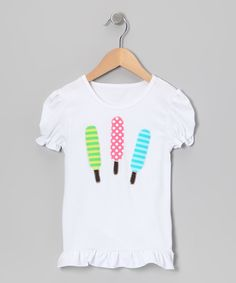 Take a look at this White Popsicle Ruffle Top - Infant, Toddler & Girls on zulily today!