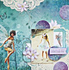 Kaisercraft - Fairy Dust - Anna Zaprzelska Scrapbook Sketches, Scrapbook Albums, Scrapbook Cards, Baby Girl Scrapbook, Wedding Scrapbook, Mixed Media Scrapbooking, Scrapbooking Layouts, Kids Pages, Fairy Dust