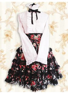 Pink Cotton Stand-up Collar Long Sleeves Floral Lolita Outfit With Bow