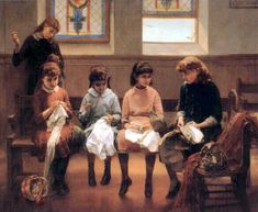 The Sewing School - Constant Mayer (1832 – 1911, French-born American)