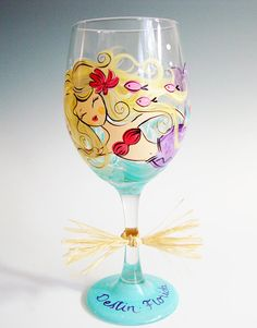 Mermaid Wine Glass, Hand Painted, Personalized, Made to Order, Add your Name or Location, choose haircolor via Etsy