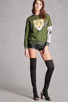 A pair of woven sock boots featuring an over-the-knee design, a peep toe, ankle cutout, and a block heel. This is an independent brand and not a Forever 21 branded item. Fast Fashion, Love Fashion, Colorful Fashion, Neon Outfits, Stage Outfits, Cute Sweatshirts, Daily Wear, Daily Outfit, Sweater Fashion