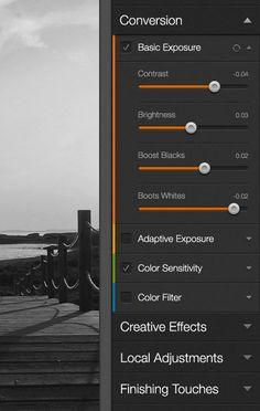 Réglages avancés en flat design avec codage couleur par catégorie dans la bordure gauche de la palette.