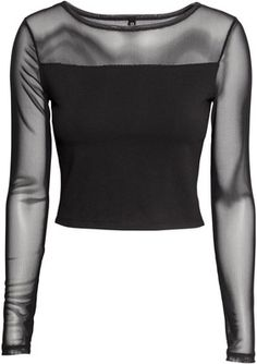 Discover a range of quality women's clothing at H&M. Shop online for dresses, tops, jeans, lingerie and more in a variety of styles and sizes. Black Mesh Shirt, Black Mesh Top, Black Long Sleeve Shirt, Mesh Long Sleeve, Black Crop Tops, Long Sleeve Tops, Black Shirts, Cropped Tops, Edgy Outfits