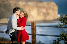soon to be wed couple during engagement session at the bluffs in palos verdes
