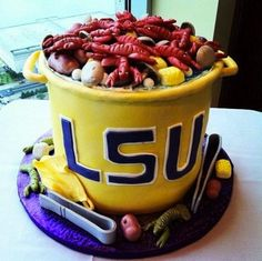 LSU groomsman wedding cake @mary Vidrine (made by my lil cuz contact me if ur interested) AW