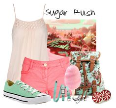 """""""Sugar Rush - Summer - Disney's Wreck-It-Ralph"""" by rubytyra ❤ liked on Polyvore featuring RALPH, Jane Norman, Charlotte Russe, Cotton Candy, Converse, La Mer, Summer, disney, disneybound and WreckItRalph"""