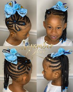 Children's Braids and Beads! Booking Link In Bio! Little Girls Natural Hairstyles, Little Girl Braid Hairstyles, Black Kids Hairstyles, Little Girl Braids, Baby Girl Hairstyles, Kids Braided Hairstyles, Toddler Hairstyles, Kids Braids With Beads, Braids For Kids