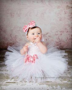 Vintage Rhinestone Rosette Baby Crochet Tutu Dress