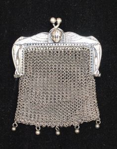 Egyptian Revival King Tut Chatelaine Coin Purse Mesh Purse, 1920s, silver