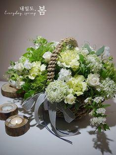 [ 내일도,봄 ] 화이트+그린 꽃바구니 - Flower Basket Arrangement - 예술의전당 꽃집 / 꽃바구니 만들...